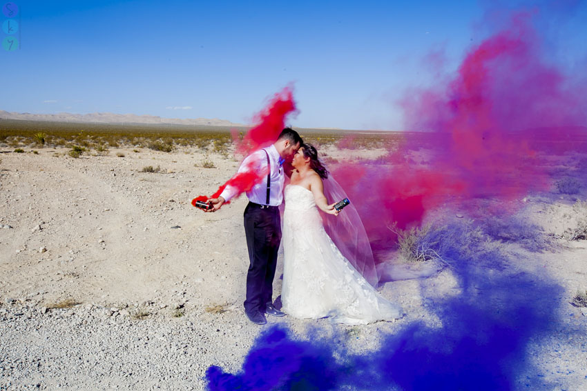 Las Vegas Desert Smoke Bombs Wedding Photos Tanya Dave